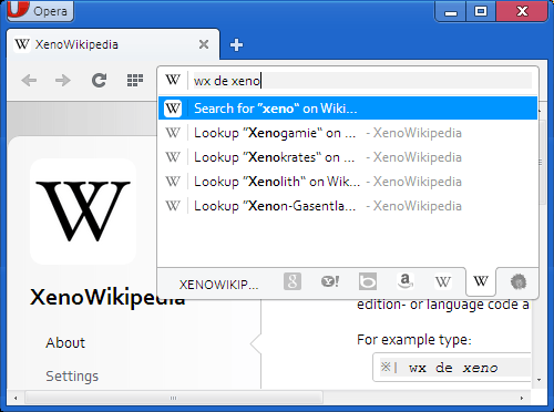 Screenshot of a sample Wikipedia research using XenoWik