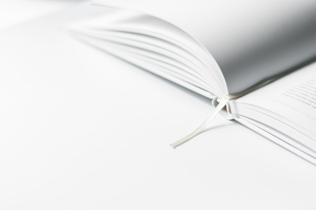 Open book with a bookmark string